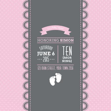 nacimiento bebe: Conjunto de fondos de colores con texto e iconos para las duchas del beb� Vectores