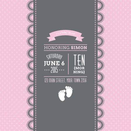 Set of colored backgrounds with text and icons for baby showers Illustration