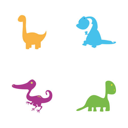 large group of animals: Set of cute dinosaurs on a white background Illustration
