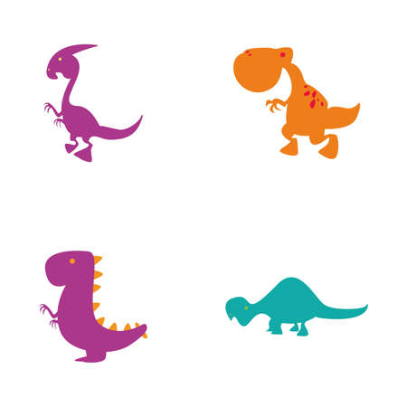 toys clipart: Set of cute dinosaurs on a white background Illustration
