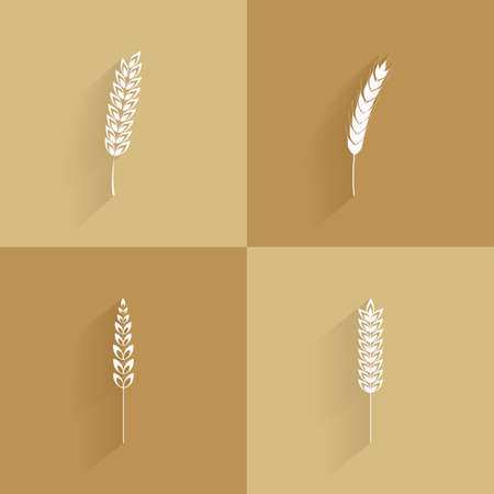 wheat bread: Set of wheat silhouettes on brown backgrounds Illustration