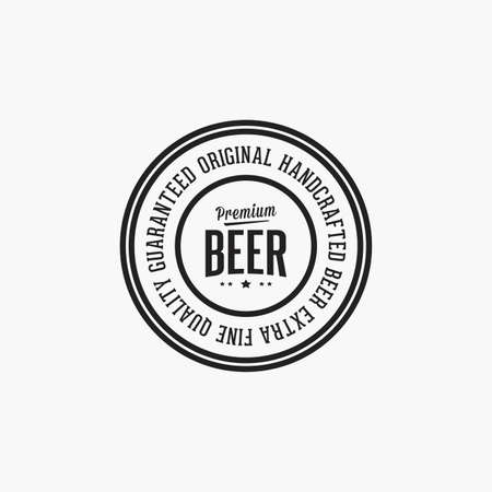 retro badge: Isolated beer label with text and icons on a white background Illustration