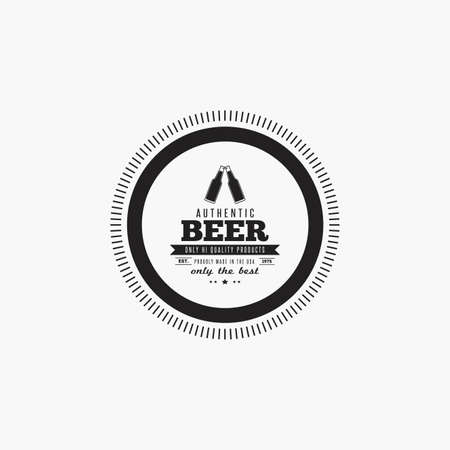 stout: Isolated beer label with text and icons on a white background Illustration
