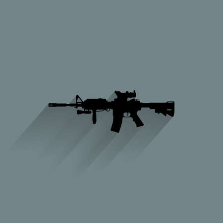 riffle: Isolated weapon silhouette on a blue background