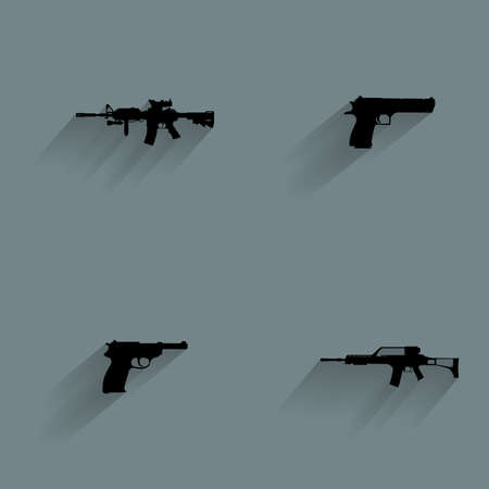 Set of weapon silhouettes on a blue background Illustration