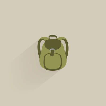 mochila de viaje: Icono de campamento aislado en un fondo de color