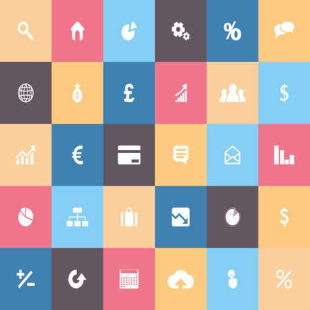 colored backgrounds: Set of money icons on colored backgrounds Illustration