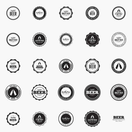 label sticker: Set of beer labels with text and icons on a white background
