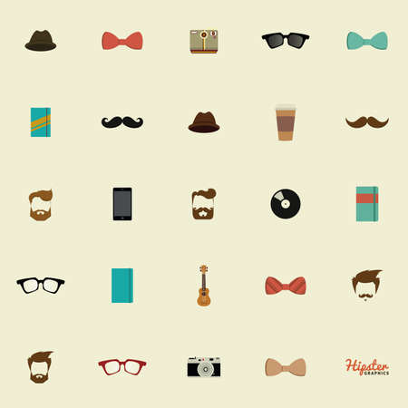 white: Set of hipster icons on a white background Illustration