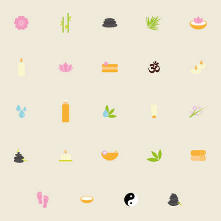 cosmetician: Set of spa icons on a white background