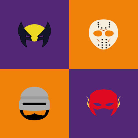 colored backgrounds: Set of halloween costumes on colored backgrounds Illustration