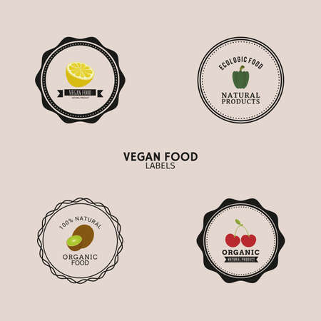 apple clipart: abstract organic food labels on a light background Illustration