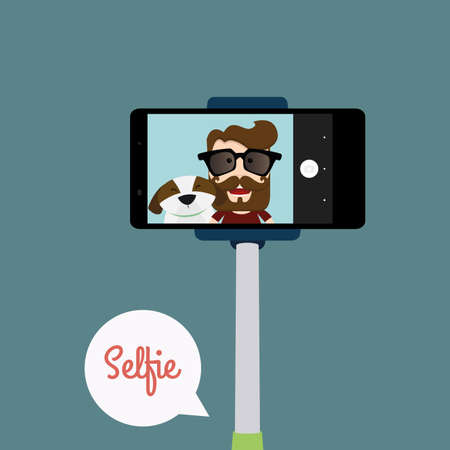 couple having fun: abstract selfie background with some special objects