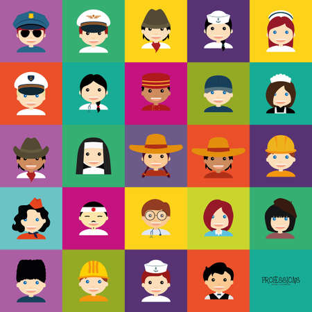 colored backgrounds: Set of people with clothes on colored backgrounds Illustration