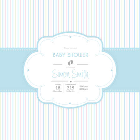 showers: Colored background with text and icons for baby showers Illustration