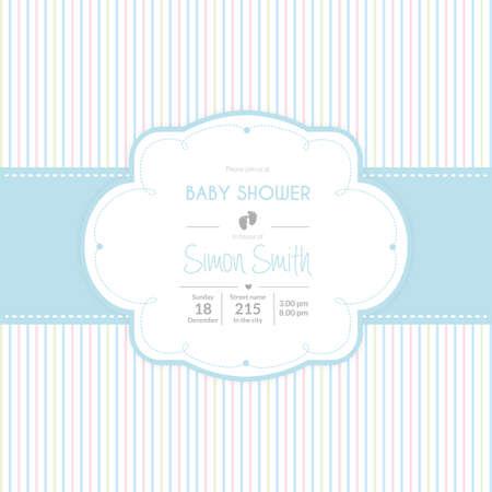 Fond coloré avec du texte et des icônes pour les douches de bébé