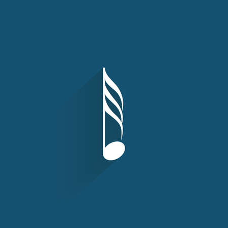 musical notes background: abstract music symbol on a blue background