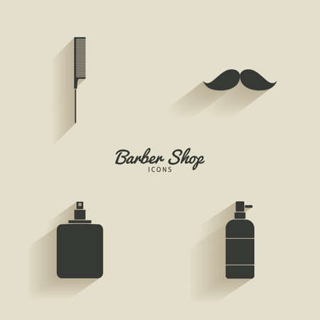 male grooming: abstract barber objects on a light background