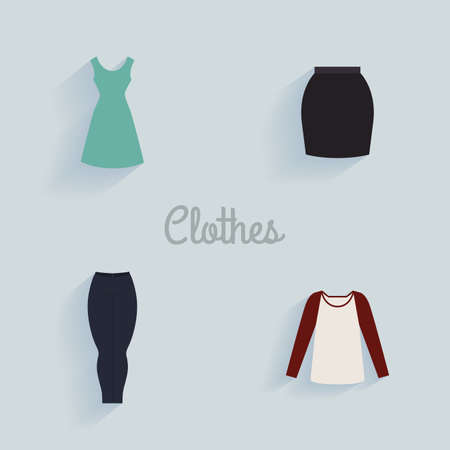 t shirt blouse: abstract clothes objects on a light blue background Illustration