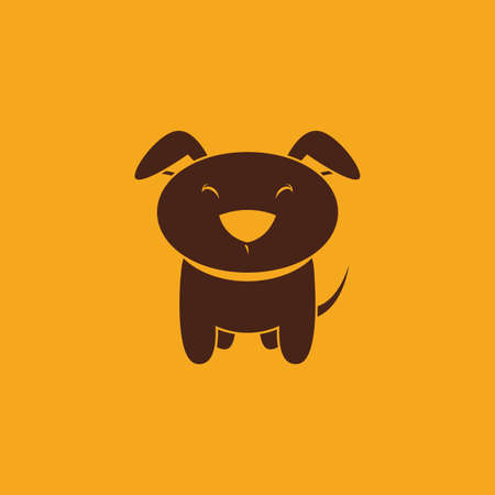 cute dog: abstract cute dog on a yellow background Illustration
