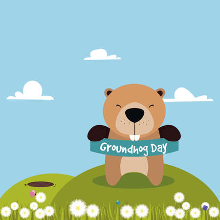 wake up happy: abstract groundhog day background