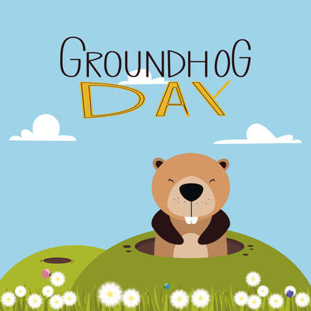 woodchuck: abstract groundhog day background with some special objects