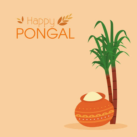 abstract happy pongal background with some special objects Ilustracja