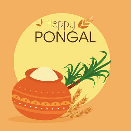 sugarcane: abstract happy pongal background with some special objects Illustration