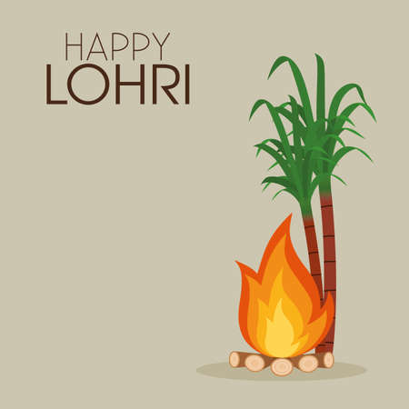abstract happy lohri background with some special objects