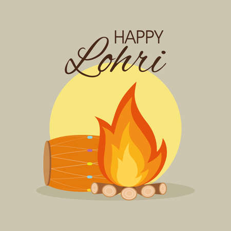 arts culture and entertainment: abstract happy lohri background with some special objects
