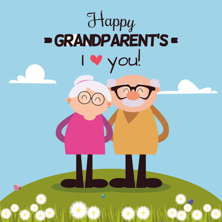 abstract happy grandparents with some special objects Stock Illustratie