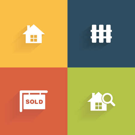 abstract big sale symbols on squares with different color