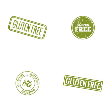 celiac: abstract gluten free labels on a white background