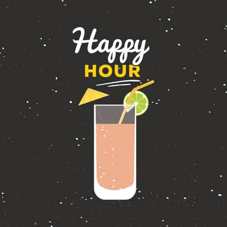 happy hour drink: Abstract happy hour label on a special background