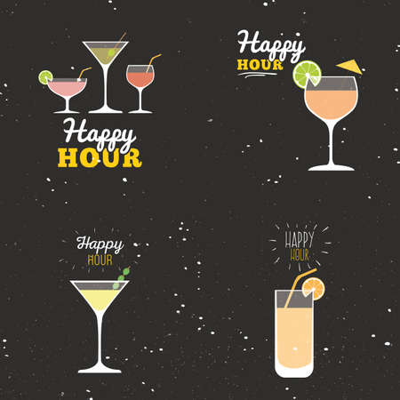 happy hour drink: Abstract happy hour labels on a special background Illustration