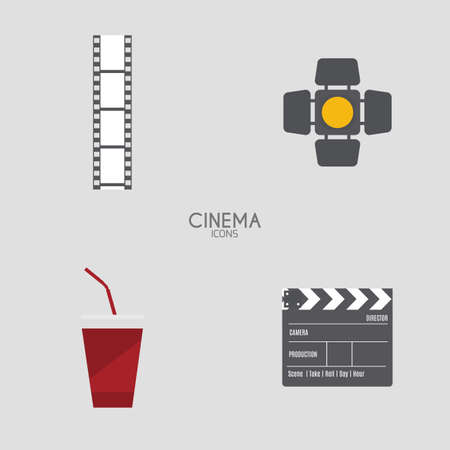 strip show: Isolated cinema objects on a white background