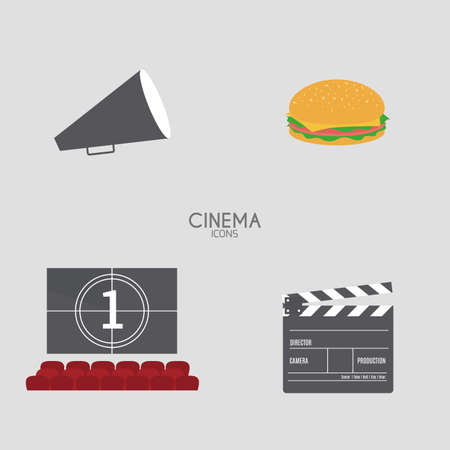 cine: Isolated cinema objects on a white background