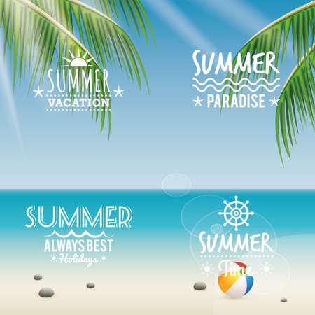 Étiquettes abstraites de vacances d'été sur un fond spécial