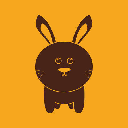rabbit silhouette: abstract cute rabbit silhouette on a yellow background