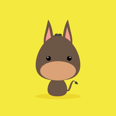 wild donkey: Cute cartoon wild donkey on a yellow background