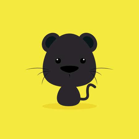puma: Cute cartoon wild puma on a yellow background
