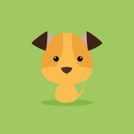 per: Cute cartoon dog on a green background Illustration