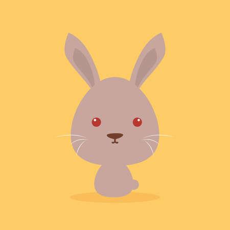 wild rabbit: Cute cartoon wild rabbit on a orange background