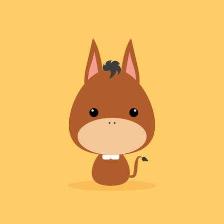 wild donkey: Cute cartoon wild donkey on a orange background Illustration