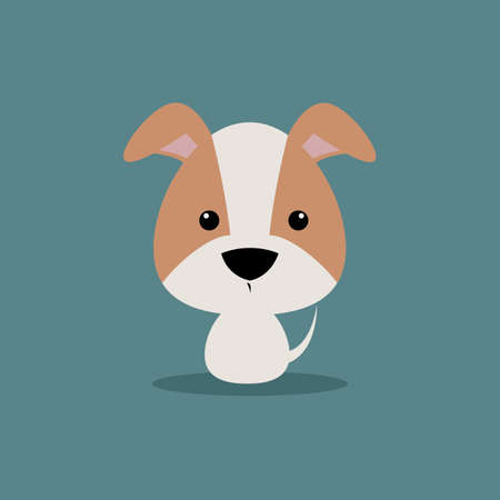 per: Cute cartoon dog on a blue background Illustration
