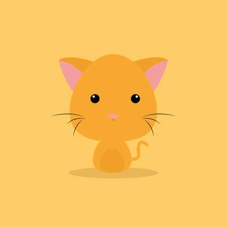 Cute cartoon cat on a orange background Illustration