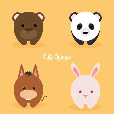 Cute cartoon animals on a orange background Illustration