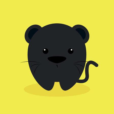 puma: Cute cartoon puma on a yellow background