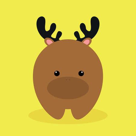 Cute cartoon deer on a yellow background Illustration