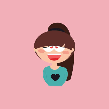 Cute girl with a particular expression face on a pink background